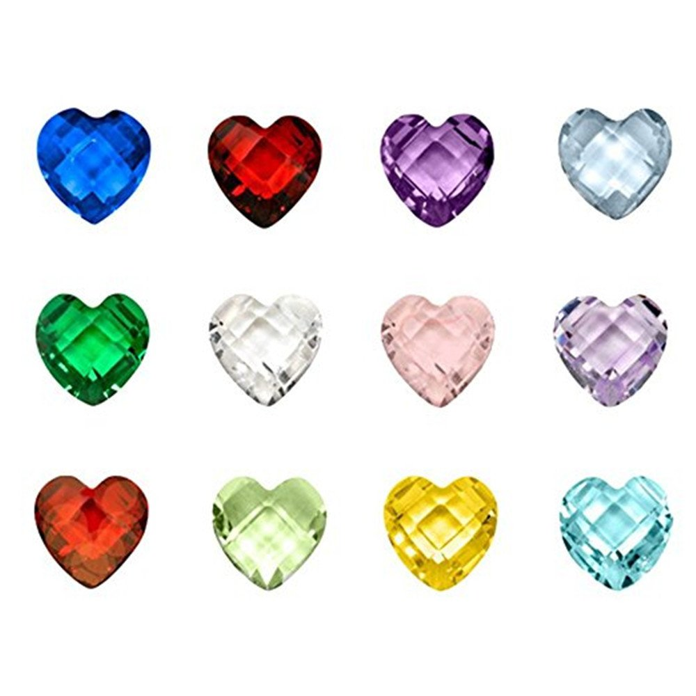 120pcs Assorted Birthstone Artifical Crystal Floating Charm Memory Lockets Mix 12 Colors£¨Heart shape) Qiqilei