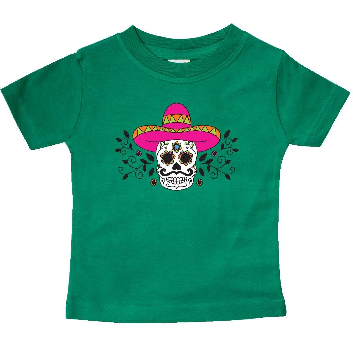 inktastic Sugar Skull Illustration with Floral Filigree Cinco De Baby T-Shirt