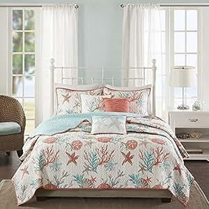 Amazon Com 6 Piece Vibrant Orange Pink Blue White Full