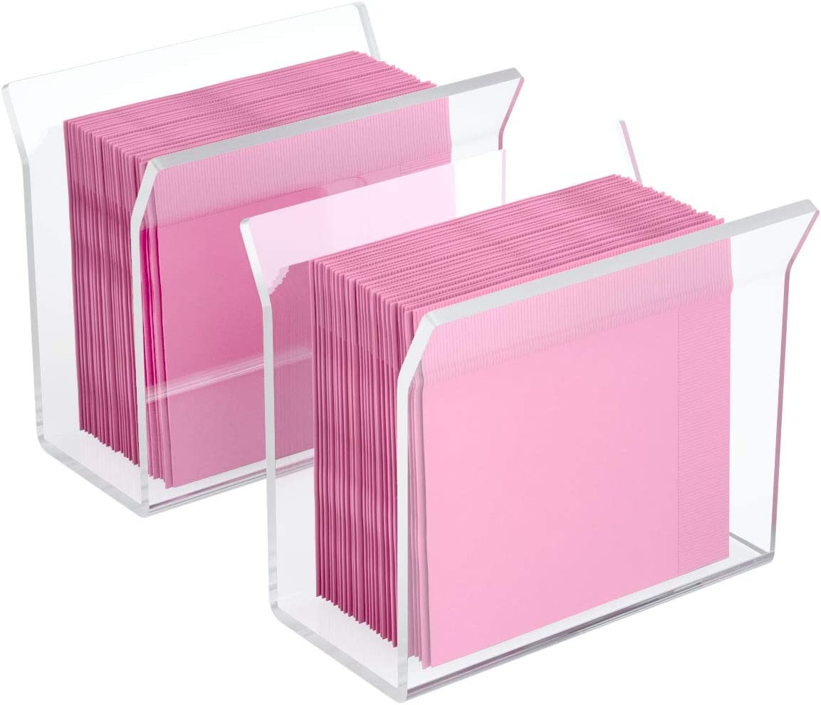 NIUBEE Acrylic Cocktail Napkin Holder 2Pack, Clear Decorative Beverage Napkin Stand for Kitchen Dining Wedding Table -U Shape Vertical Display