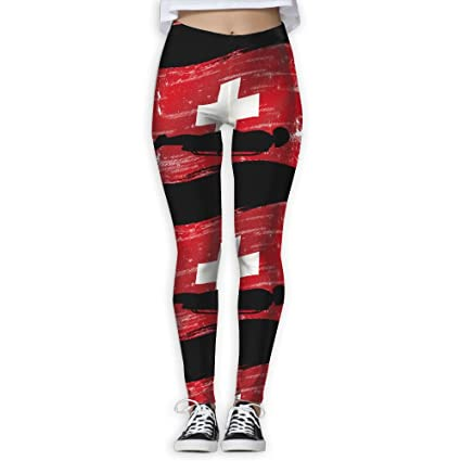 a5c2747d67 Skeleton Swiss Flag Women S Workout Running Gym Tights Leggings High Waist  Yoga Pants
