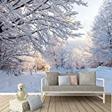 Winter Woods Snow Covered Trees Landscape Wall Mural Forest Photo Wallpaper available in 8 Sizes Gigantic Digital
