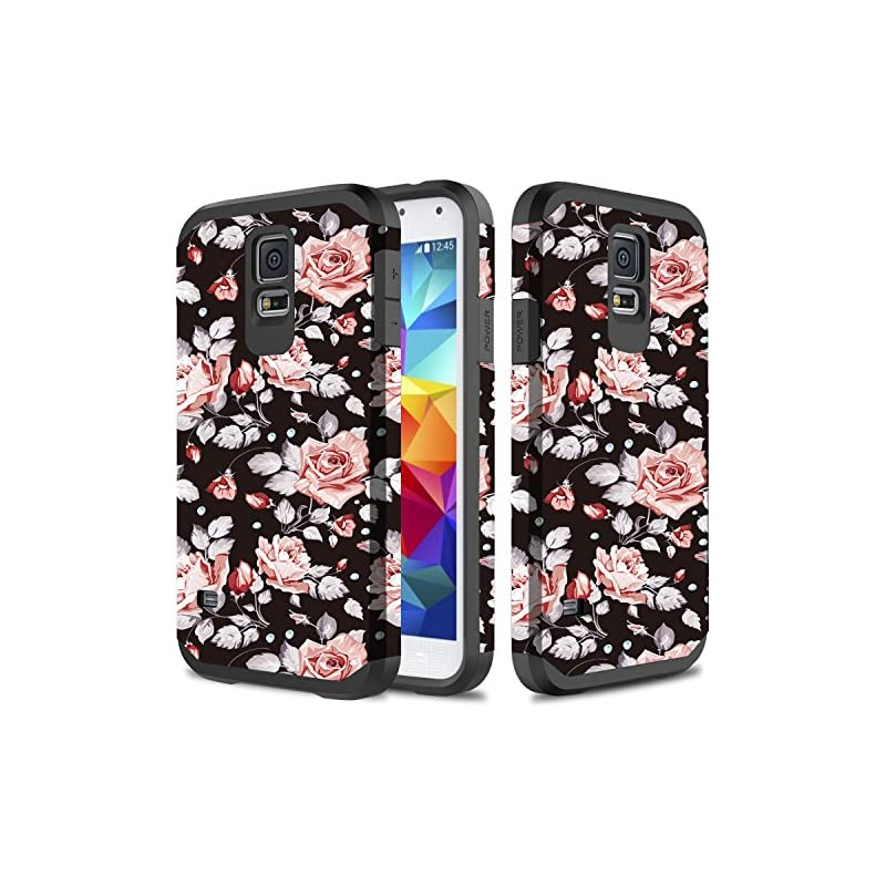 Galaxy S5 Case, TownShop Hard Impact Dual Layer Shockproof Bumper Case for Samsung Galaxy S5 (i9600) - Pink Rose