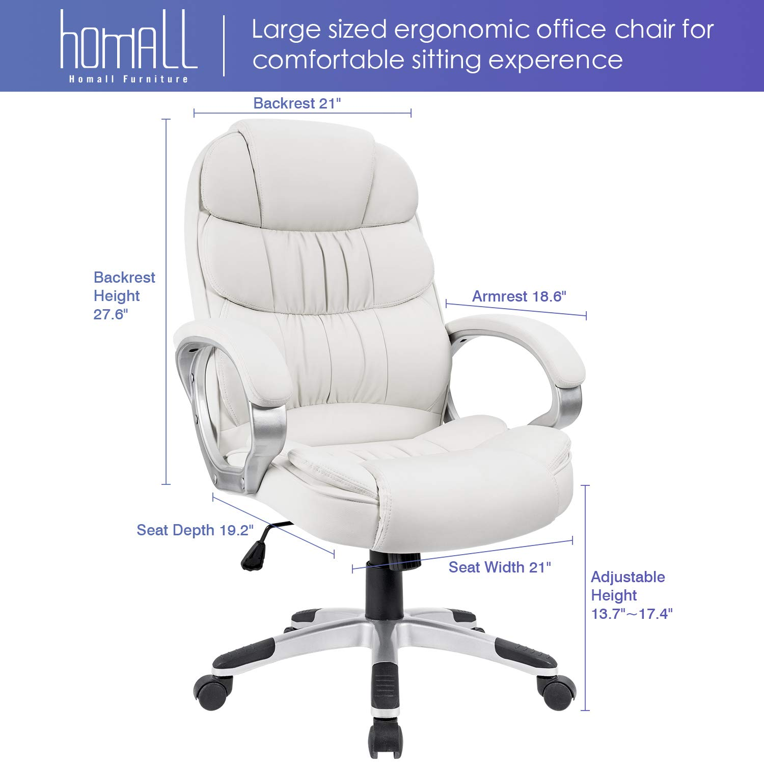 Homall Office Chair High Back Computer Desk Chair, PU Leather Adjustable Chair Ergonomic Boss Executive Management Swivel Task Chair with Padded Armrests (White) by Homall (Image #6)
