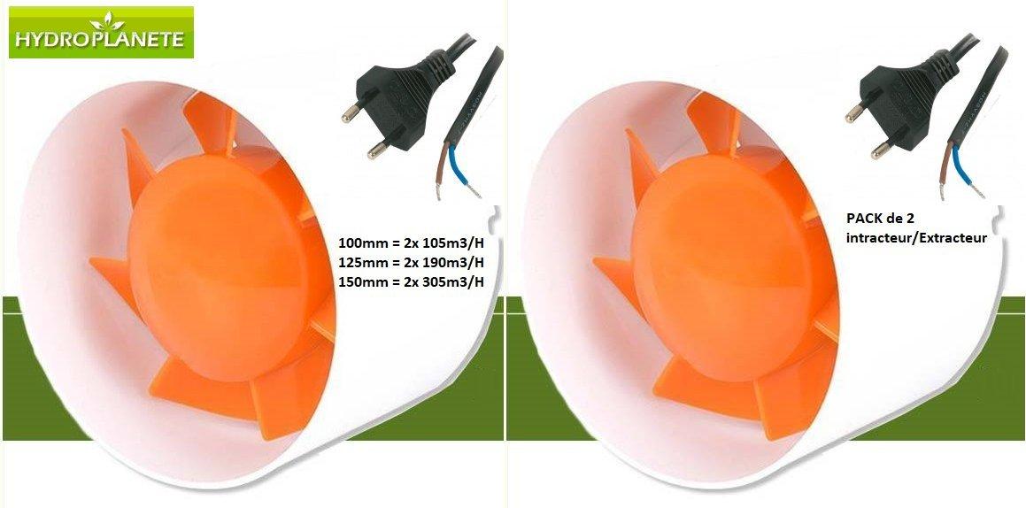 lote de 2 con cable y toma el/éctrica Hydroplanete/-/Extractor//intractor de aire para conductos de ventilaci/ón 100/- 125/- 150/mm