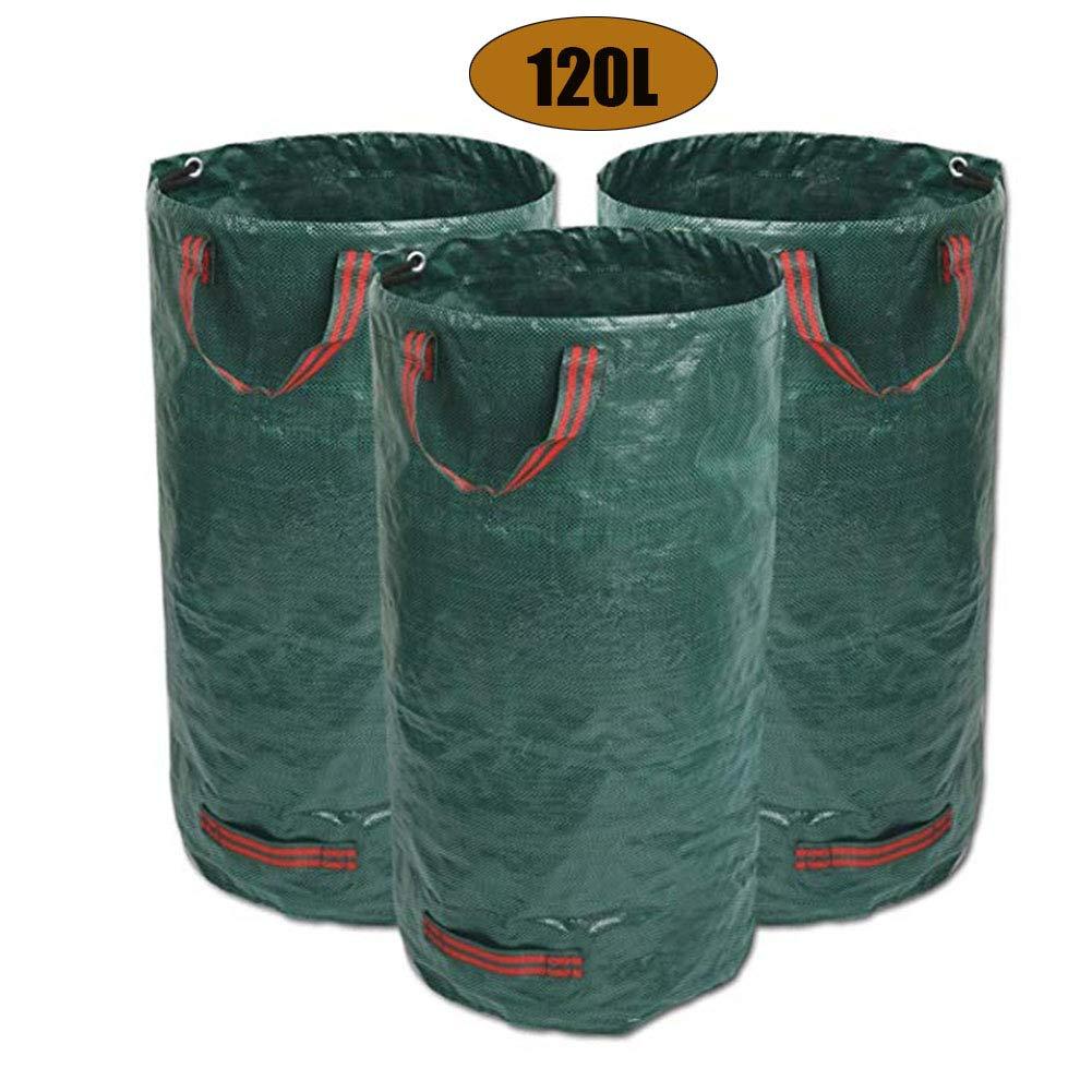 JOEPET 120L Garden Waste Bags, Heavy Duty Green Leaf Bag with Handles, Polypropylene Heavy Duty Reusable Garden Refuse Sack (65 X 45 cm) by JOEPET
