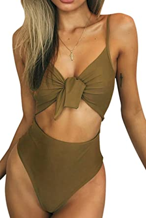 b2bd6e3c63 Pink Queen Women s Bandage Cut Out High Waisted One-Piece Swimwear Army  Green S