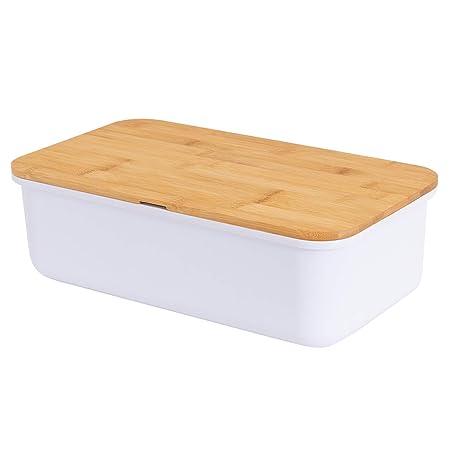 Caja de pan de metal con tabla de cortar color negro 33 x 18 x 12 ...