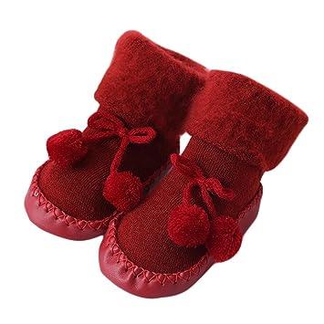 dikewang caliente nuevo Kid bebé de niña lana gruesa chaqueta de invierno cálido de punto calcetines. Pasa ...