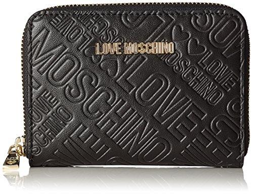 Love Moschino Portafogli Embossed Pu Nero - Pochette da giorno Donna, Schwarz (Black), 10x13x2 cm (L x H D)
