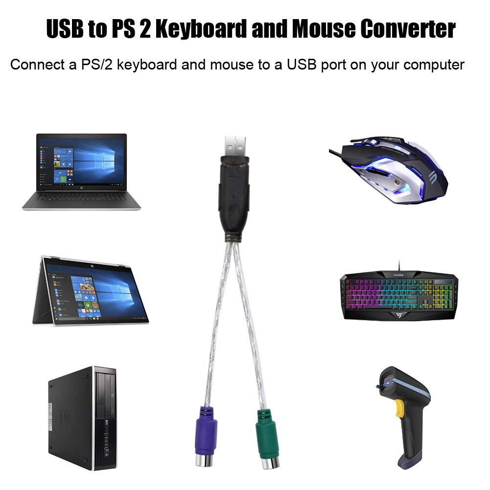 2PCS PS//2 Female to USB Male Adapters Converter For PC Computer Keyboard PVCA
