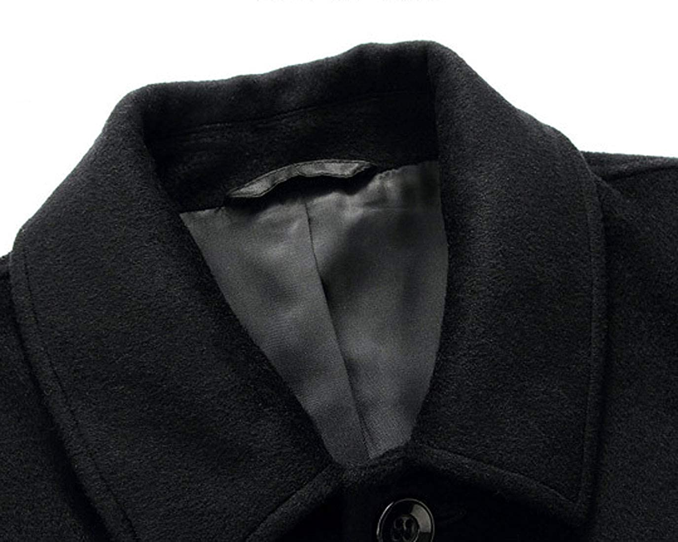Chartou Mens Classic Mid-Length Quilted Wool Car Coat with Detachable Scarf Black, Medium