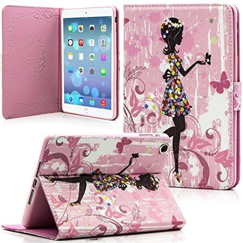 iPad Mini Case, Mini 2/3 Case, Dteck(TM) Cute Girl Design Bling Diamond Flip Leather Folio Stand Case with Auto Wake/Sleep Function Smart Cover for Apple iPad Mini 1/2/3 (04 Girl)