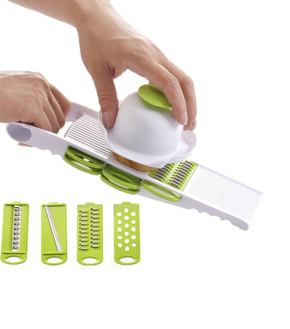 Elikeable Creative Multi Mandolin Vegetable Slicer & Grater Kitchen Set - Comes with Food Holder, Fruit Peeler and 5 Stainless Steel Blades - Thin Julienne Slicer, Cutter, Waffle Slicer and Shredder All in 1 - Best Hand-held Easy Chip for Potato Chips