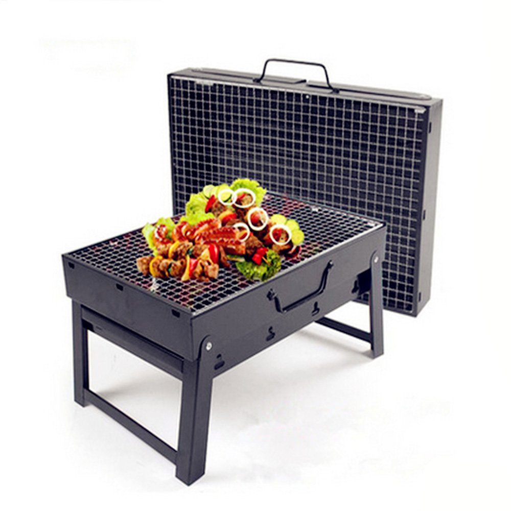 Nclon Folding Portable Charcoal smoker Barbecue grill Charcoal grill,Smoker Bbq Portable grill Outdoor Picnicking Camping Garden Camping Beach 3-5 People-large 35*27*20cm