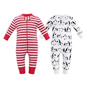 Owlivia Organic Cotton Baby Boy Girl 2 Pack Zip up Sleep N Play, Footless, Long Sleeve (Size 0-18 Month)(0-3Months,Penguin+Red Stripe)