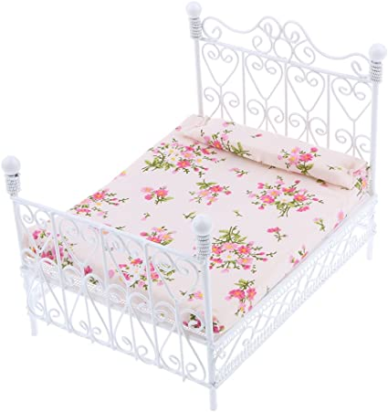1//12 Dollhouse Miniature Bedroom Furniture Accessory Floral Single Bed Toys