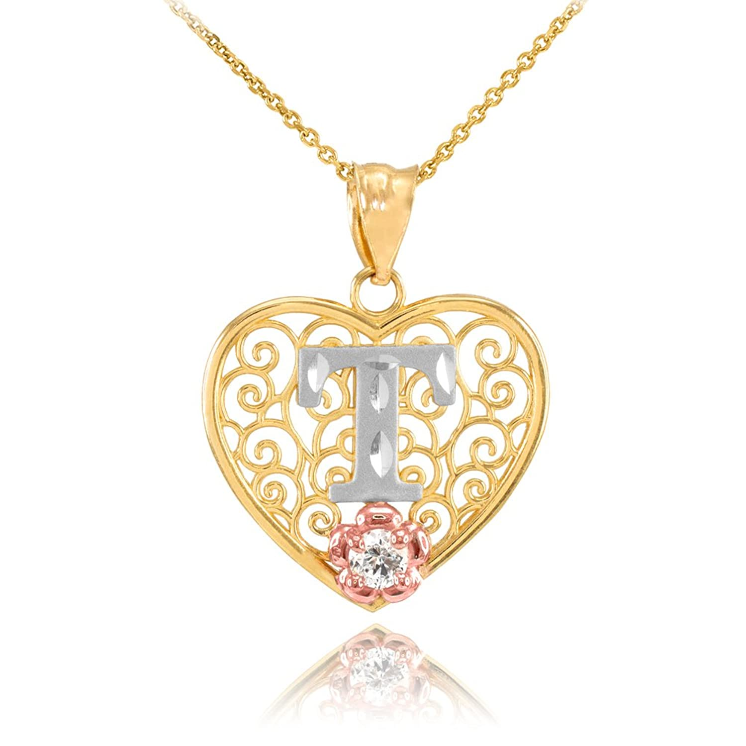 "10k Two Tone Yellow Gold Filigree Heart ""T"" Initial CZ Pendant Necklace"
