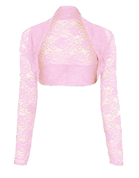 f2256d021ab Womens Cropped Lace Shrug Ladies Bolero Plus Shrug Size UK 8-24   Amazon.co.uk  Clothing