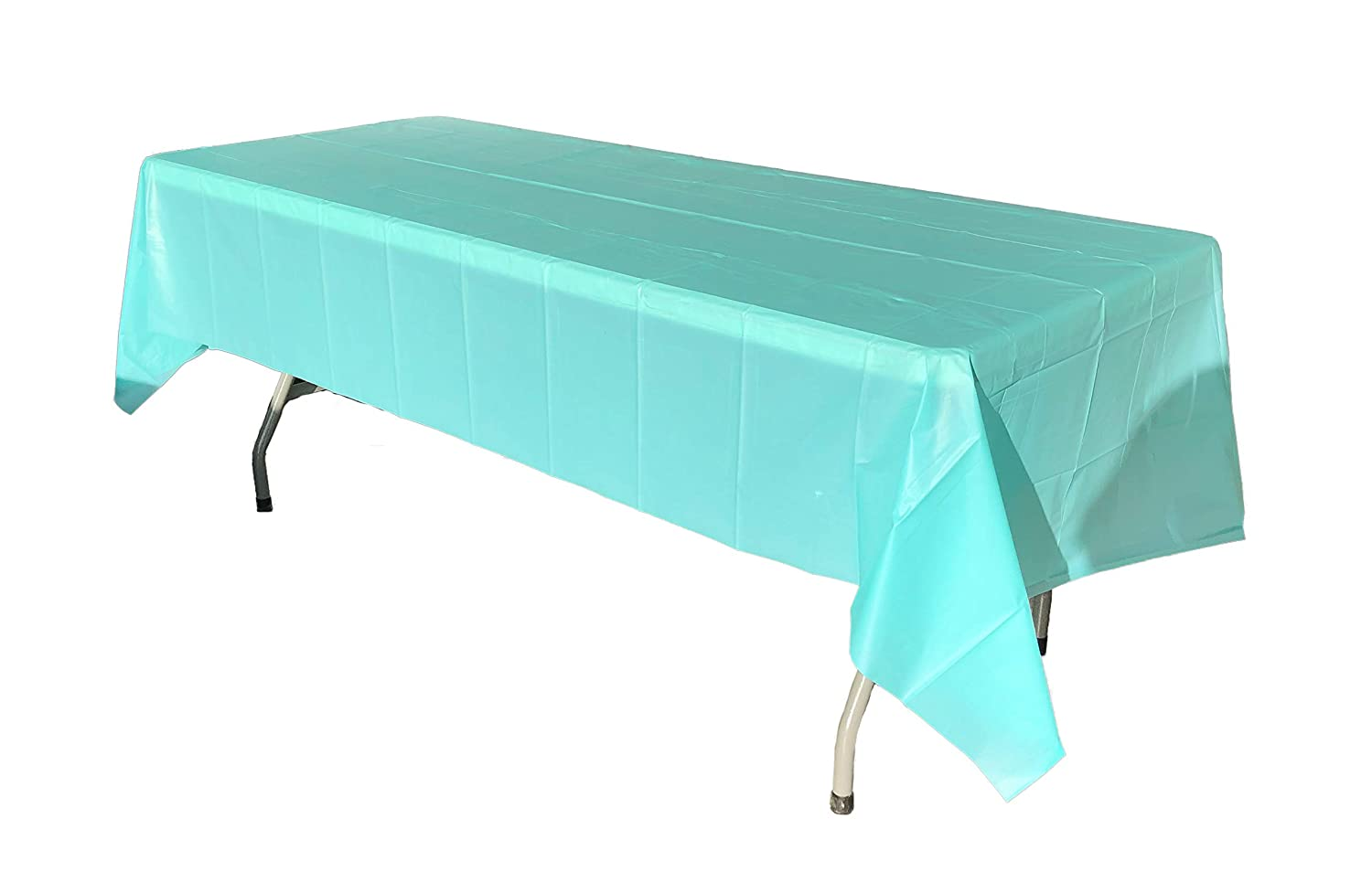 Robin's Egg Blue Plastic Table Covers or Table Skirt - 6 Pack (Rectangle) LACrafts