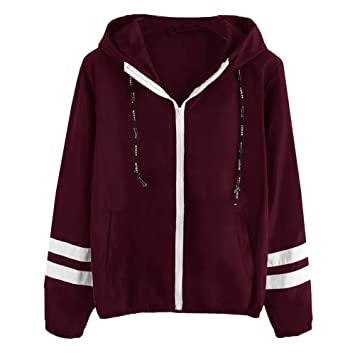 Damen Übergangsjacke Ladies Basic Kapuze Jacken Mantel Leicht Sport Jacken Sweatjacke Zip Hoodie, leichte Streetwear Schlupfjacke, Windbreaker