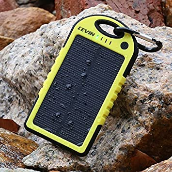 Cargador Solar Móvil 5000mAh,Levin Batería Externa Solar Impermeable Con Doble Puerto USB,Panel Solar PowerBank,Solar Charger Mobile Portátil ...
