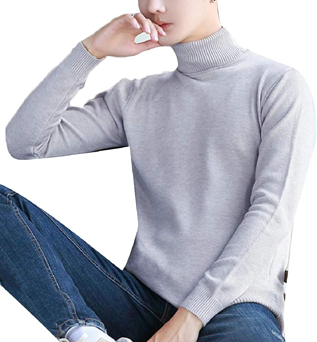 ONTBYB Mens Knitwear Casual Solid Knitted Slim Turtleneck Base Pullover Sweaters