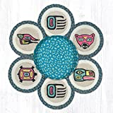 Jute Trivets Earth Rugs Tnb-581 Totem Trivets In A Basket 10'' X 10'' 10 X 1.5 X 10 Inches Multicolored