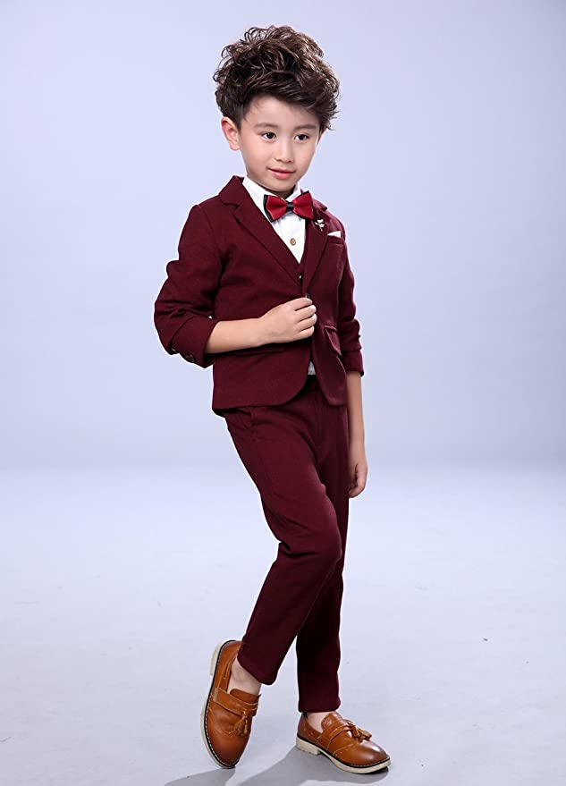 Fengchengjize Boys 3Pcs Modern Fit Suit Solid Dress Suit Jacket Vest Pants 3T-10