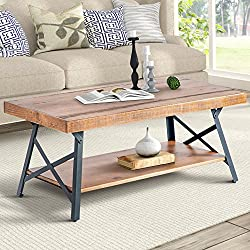 "Harper&Bright Designs WF036984DAA 43"" Lindor Collection Wood Coffee Table with Metal Legs,Living Room Set/Rustic Brown, 43.3""L x 21.65""W x 18.34""H"