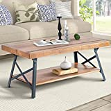"Harper&Bright Designs WF036984DAA 43″ Lindor Collection Wood Coffee Table with Metal Legs,Living Room Set/Rustic Brown, 43.3""L x 21.65""W x 18.34""H For Sale"