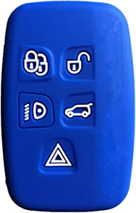 Rpkey Silicone Keyless Entry Remote Control Key Fob Cover Case protector Replacement Fit For 5 Button Land Rover LR2 LR4 Range Rover Sport Evoq Discovery(Blue)