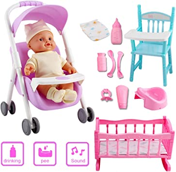 avec Accessoires Chaise Inclus deAO Ma et Poupée Poussette Poupée Berceau Première avec Bébé Set Haute Sons TlFcK1J3