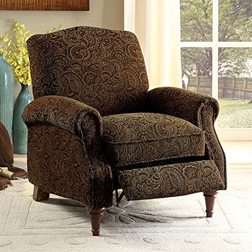 Furniture of America Linen-like Fabric Paulette Push Back Chair, Brown Pattern ()