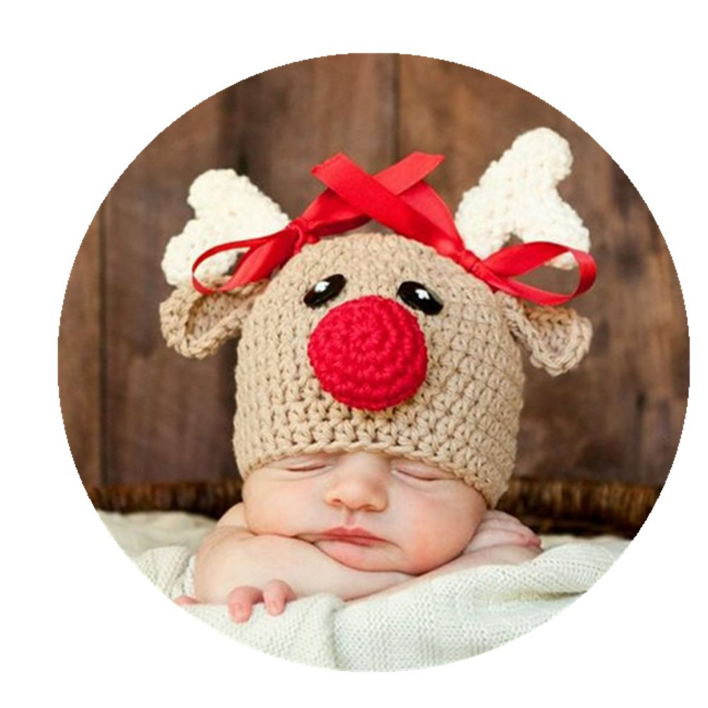 Amazon com coberllus newborn baby photo props outfits crochet christmas deer hat for boys girls photography shoot toys games