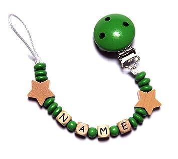 Baby Chupete con cadena de perlas de madera. Estrellas ...