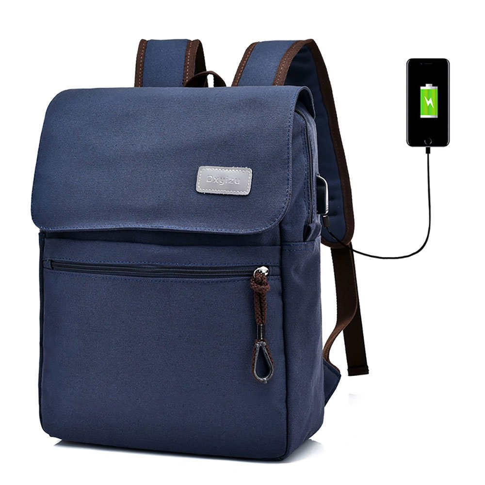 9f530de0b515 Canvas Backpack Laptop Backpack Hiking Rucksack Middle Student Backpack  with USB Charging Port Big Capacity 36