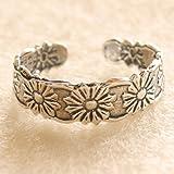 925 Sterling Silver adjustable Toe Ring Daisy Flower Design