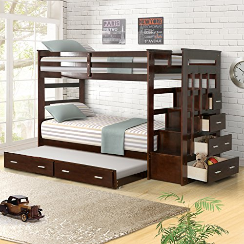 Harper&Bright Designs Captains Trundle Bunk Bed with Storage Drawers Twin Size
