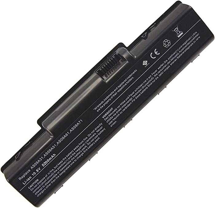 USTOP Replacement Laptop battery for EMACHINE D525 D725 E525 E725 E527 E625 E627 G620 G627 G725; AK.006BT.025 AS09A31 AS09A36 AS09A41 AS09A51 AS09A56 AS09A61 AS09A70 AS09A71 AS09A73 AS09A75 AS09A90 BT.00603.076 BT.00605.036 BT-00603-076 L09M6Y21 L09S6Y21 MS2274; 11.1V, 5200mAh, Black