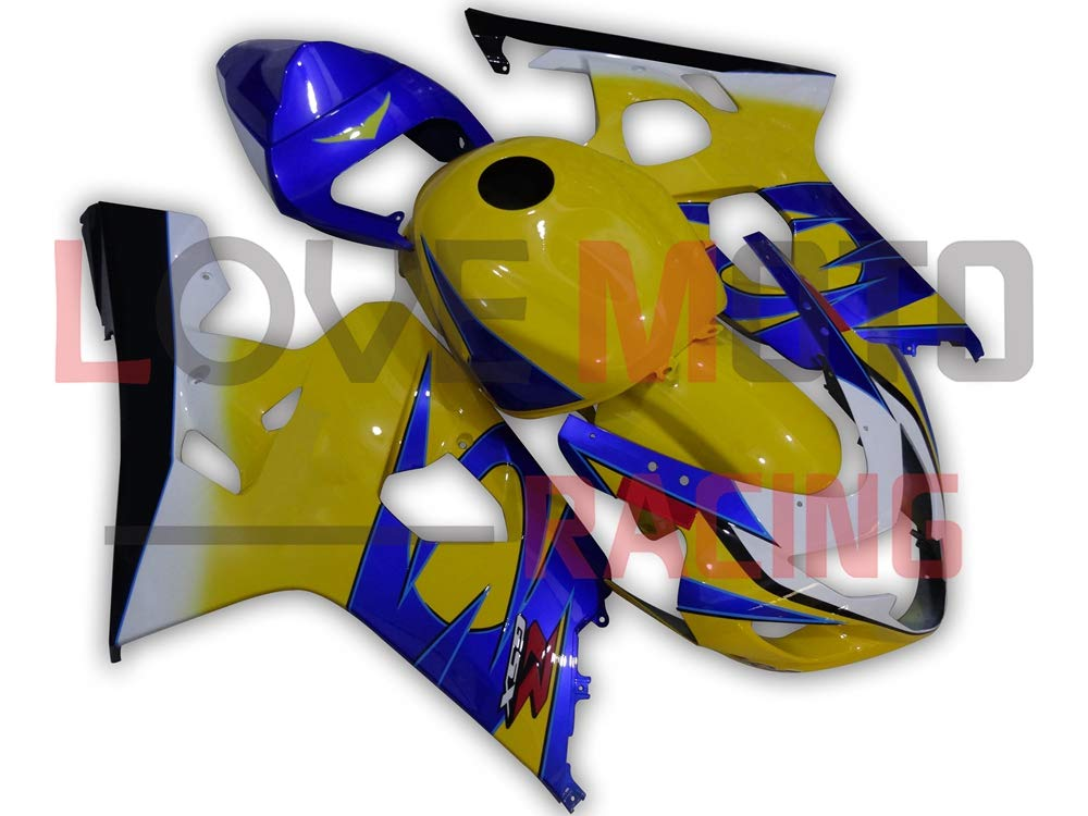 LoveMoto ブルー/イエローフェアリング スズキ suzuki GSX-R600 GSX-R750 K4 2004 2005 04 05 GSXR 600 750 ABS射出成型プラスチックオートバイフェアリングセットのキット イエロー ブルー   B07KF7ZWR1