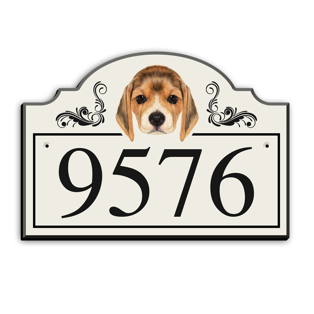 Personalized Address Plaque - Custom House Number Sign - Arched Rectangle with Beagle Dog Illustration (15'' x 10.5'') - White with Black Numbers (Made in The USA) by Custom Dog Signs