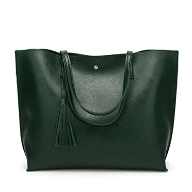 XBER Women Designer Handbags Tote Bags Ladies Top Handle Satchel Shoulder  Bag (Dark green) 4745722cf20c3