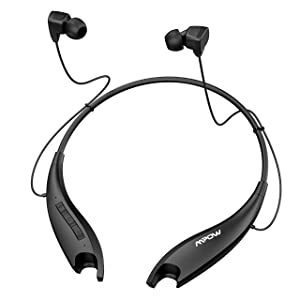 Mpow Jaws Upgraded Gen5 Bluetooth Headphones 18H Playtime, V5.0 Wireless Neckband Headphones, Bluetooth Headset Magnetic Earbuds, Call Vibrate & CVC6.0 Noise Cancelling Mic, Black