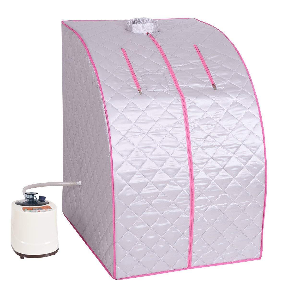 Giantex Portable 2L Steam Sauna Spa Full Body Slimming Loss Weight Detox Therapy w/Chair (Coffee) BA7175CF