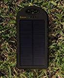 Solar Charger SunLite (Black) Portable. 5000mAh Water/ Shock/ Dust Resistant Power Bank. Fits most USB devices, Ipods, Ipads, Samsungs, most Smart phones, Gopro, GPS, MP3, MP4