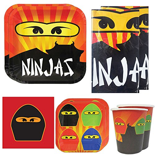 Ninja Master Deluxe Party Packs (70 Pieces for 16 Guests!), Ninja Party Supplies, Ninja Table (Ninjago Party Supplies Party City)