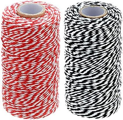Cuerda de algodón de 200 m, 2 cordel de algodón para manualidades para decoración de paquetes de regalo (100 m/rollo), color Rojo y blanco y negro y blanco.: Amazon.es: Oficina y papelería