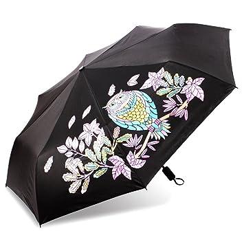 Cambia de Color paraguas, boirblue impermeable protección UV paraguas Manual/compacto/resistente lluvia