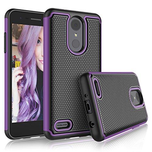 LG Aristo 2 Case, LG Tribute Dynasty/Empire/LG Aristo 3/K8 2018/Fortune 2/Zone 4/Risio 3 Cute Cases, Tekcoo [Tmajor] Shock Absorbing [Purple] Rubber Silicone Plastic Scratch Resistant Sturdy Cover